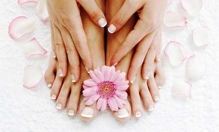 Mani-Pedi with Optional Gelish Coat or Nail Extensions at Baravia Beauty Center (Up to 50% Off)